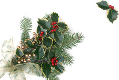 Christmas decorations with holly berries Royalty Free Stock Photo
