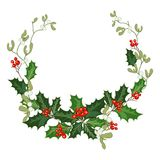 Christmas decorations with holly and red berries. Christmas decorations with holly, berries, mistletoe and decorative elements. Design element for Christmas royalty free illustration