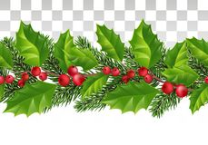 Seamless Christmas pattern with holly, red berries and fir branches. Festive fir ribbon. Seamless natural decoration. Vector. royalty free illustration