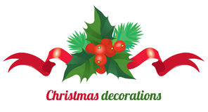 Christmas decorations. Christmas holly leaves and berries with Christmas tree branches and red bow - Christmas decorations Stock Photo