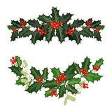 Christmas decorations with holly and red berries. Christmas decorations with holly, berries, mistletoe and decorative elements. Design element for Christmas vector illustration