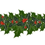 Christmas decorations with holly and red berries. Christmas decorations with holly, berries and decorative elements. Seamless garland of holly leaves and berries vector illustration
