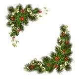Christmas decorations with holly and red berries. Christmas decorations with fir tree, holly, berries, mistletoe and decorative elements. Design element for vector illustration