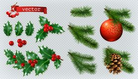 Christmas decorations. 3d vector icon set. Christmas decorations. Holly, spruce, red berries, christmas bauble and conifer cone. 3d realistic vector icon set vector illustration
