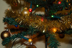Christmas decorations. Decorations hung  on a Christmas tree Royalty Free Stock Images