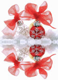 Christmas decorations on ice Royalty Free Stock Photography