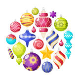 Christmas Decorations Icons Set. In circle shape with embellished balls stars and icicles isolated vector vector illustration