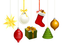 Christmas decorations illustration. A series of Christmas decorations. A star, some balls, gift, stocking, tree, bauble and the like royalty free illustration