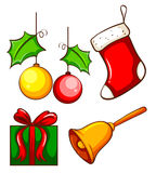 Christmas decorations. Illustration of the christmas decorations on a white background royalty free illustration