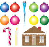 Christmas decorations ornaments Ice Cycle Candy. Christmas decorations including balls, ice cycle, gingerbread house, candy cane, candle vector illustration