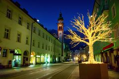 Christmas decorations in Innsbruck royalty free stock image