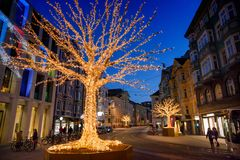 Christmas decorations in Innsbruck Stock Photo