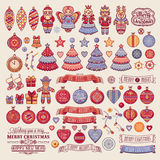 Christmas decorations for invitations and greeting cards. Royalty Free Stock Photography