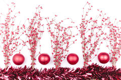 Christmas decorations isolated on white. Red berry twigs and Christmas decorations Stock Photos