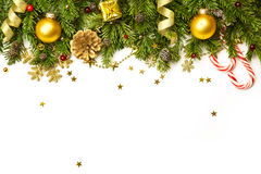 Christmas Decorations  isolated on white background- horizontal Stock Images