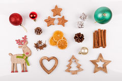 Christmas decorations isolated on white background. Top view Royalty Free Stock Images
