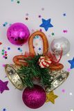 Christmas decorations with jingle bells stock photography