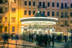 Christmas decorations in Kiev, Ukraine. St. Sophia square Royalty Free Stock Photography