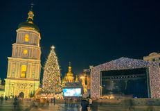 Christmas decorations in Kiev, Ukraine. St. Sophia square Stock Images
