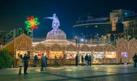 Christmas decorations in Kiev, Ukraine. St. Sophia square Stock Image