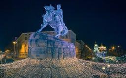 Christmas decorations in Kiev, Ukraine. St. Sophia square Royalty Free Stock Photo