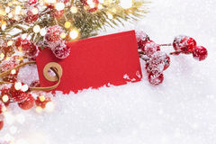 Christmas decorations with label Royalty Free Stock Photography