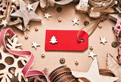 Christmas decorations with label Royalty Free Stock Image