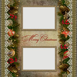 Christmas decorations with lace and frames on vint Royalty Free Stock Photography