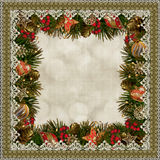 Christmas decorations with lace on vintage background Royalty Free Stock Photos