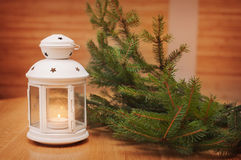 Christmas decorations with lantern. Christmas greeting card Stock Images