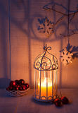 Christmas decorations and lantern Stock Image
