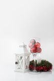 Christmas decorations and lantern Royalty Free Stock Photography
