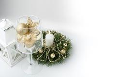 Christmas decorations and lantern Stock Photos