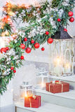 Christmas decorations with lanterns Stock Photos