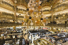 Christmas decorations at Le Printemps store, Paris, France. View in PARIS, FRANCE, DECEMBER 14, 2015 : christmas decorations at Le Printemps store, december 14 Royalty Free Stock Photography