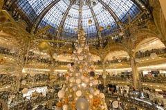 Christmas decorations at Le Printemps store, Paris, France. View in PARIS, FRANCE, DECEMBER 14, 2015 : christmas decorations at Le Printemps store, december 14 Royalty Free Stock Images
