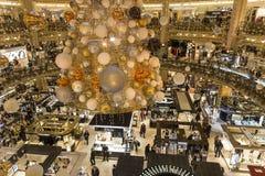 Christmas decorations at Le Printemps store, Paris, France. View in PARIS, FRANCE, DECEMBER 14, 2015 : christmas decorations at Le Printemps store, december 14 Royalty Free Stock Photo