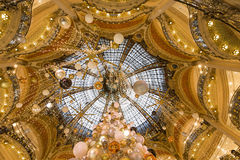 Christmas decorations at Le Printemps store, Paris, France Royalty Free Stock Photo