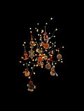 Christmas decorations light strings and baubles Stock Image