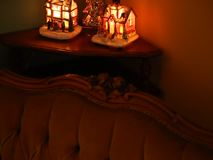 Christmas decorations and retro sofa. Christmas decorations lighted and retro sofa lining stock video
