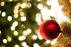 Christmas decorations and lighting on the branches christmas tre. E, soft focus Royalty Free Stock Images
