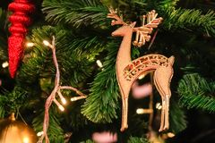 Christmas decorations and lighting on the branches christmas tre. E, soft focus Stock Images