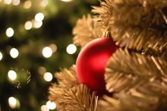 Christmas decorations and lighting on the branches christmas tre. E, soft focus Stock Photo