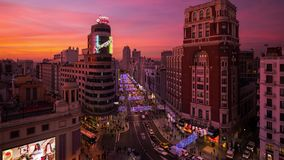 Christmas decorations and lights in Madrid by night stock photo