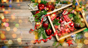 Christmas decorations, lights, ornaments, stars, toys Royalty Free Stock Photography