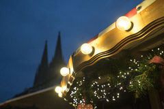 Christmas decorations and lights in Regensburg with Cathedral on Stock Photography