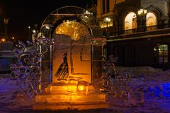Christmas decorations made of ice near an Orthodox church at night stock photos