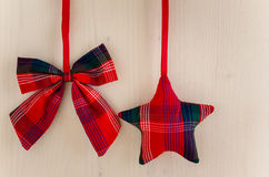 Christmas Decorations made of Tartan Cloth Stock Image