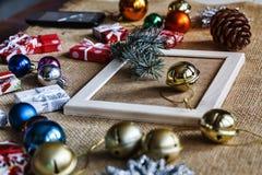 Christmas, gift, hand, holiday, home, xmas, presents, box, hands, decorations. Christmas decorations and making a Christmas present, close up stock photography