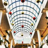 Christmas. Decorations in the mall stock photography